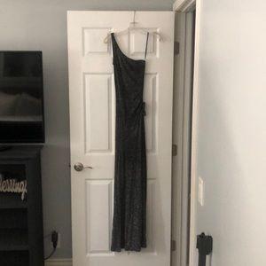 One shoulder floor length gown